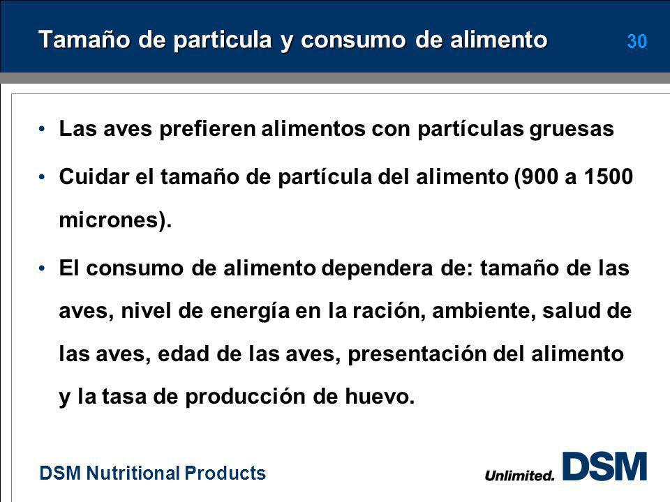 Tamaño de particula y consumo de alimento