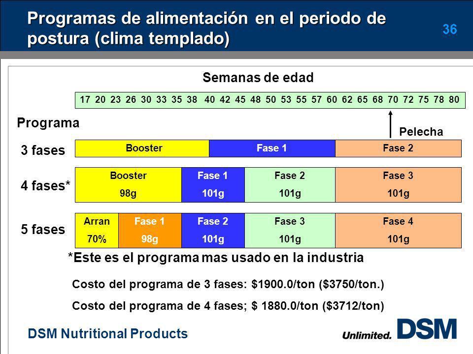 Programas de alimentación en el periodo de postura (clima templado)