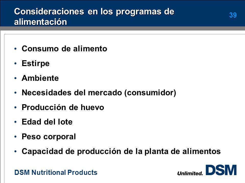 Consideraciones en los programas de alimentación
