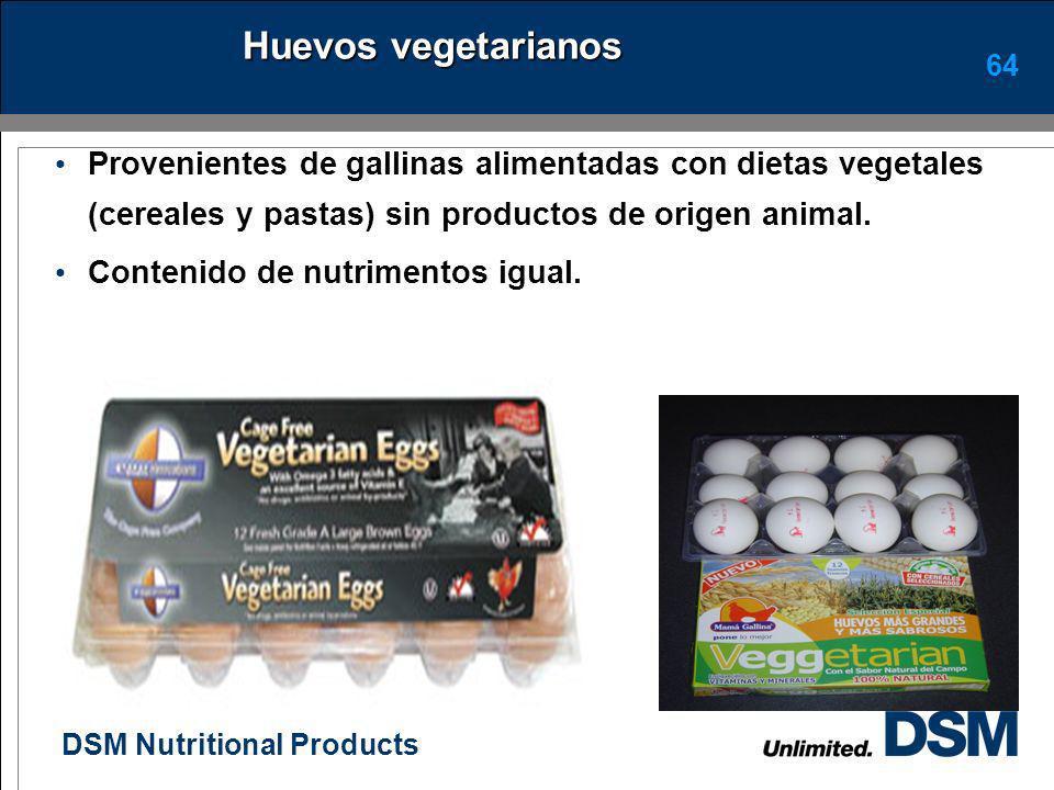 Huevos vegetarianos Provenientes de gallinas alimentadas con dietas vegetales (cereales y pastas) sin productos de origen animal.