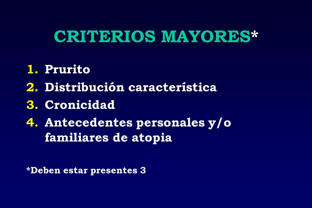 CRITERIOS MAYORES* Prurito Distribución característica Cronicidad