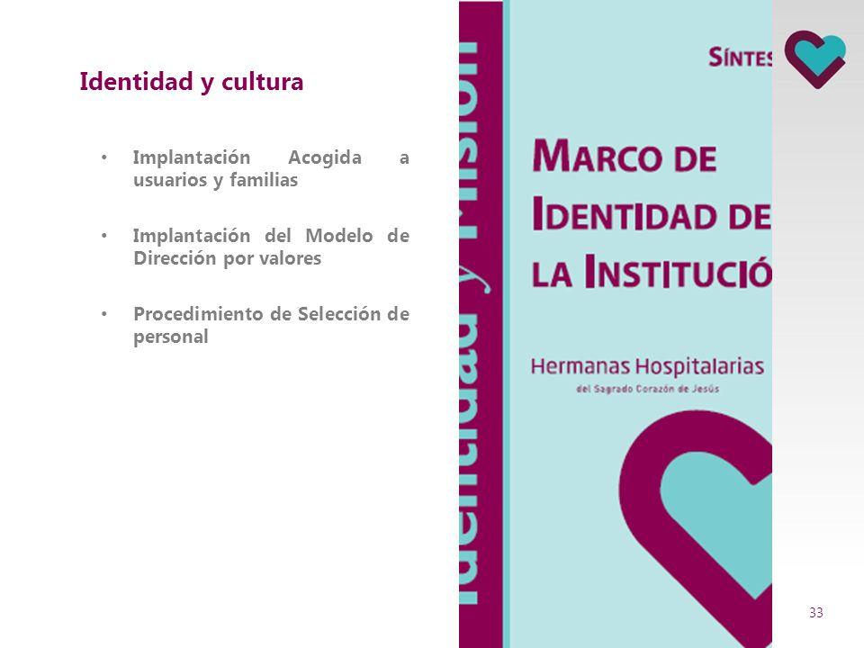 Identidad y cultura Implantación Acogida a usuarios y familias