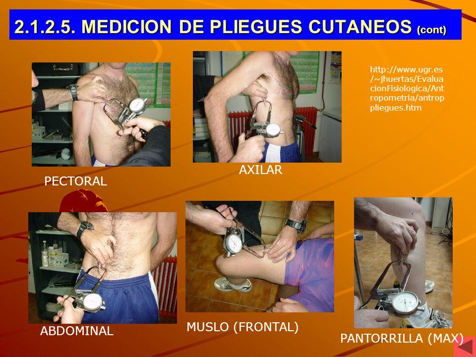 2.1.2.5. MEDICION DE PLIEGUES CUTANEOS (cont)