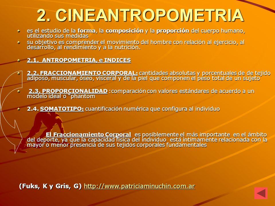 2. CINEANTROPOMETRIA es el estudio de la forma, la composición y la proporción del cuerpo humano, utilizando sus medidas.
