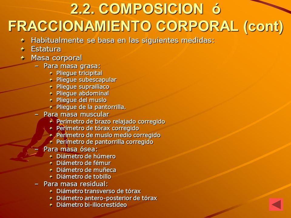 2.2. COMPOSICION ó FRACCIONAMIENTO CORPORAL (cont)