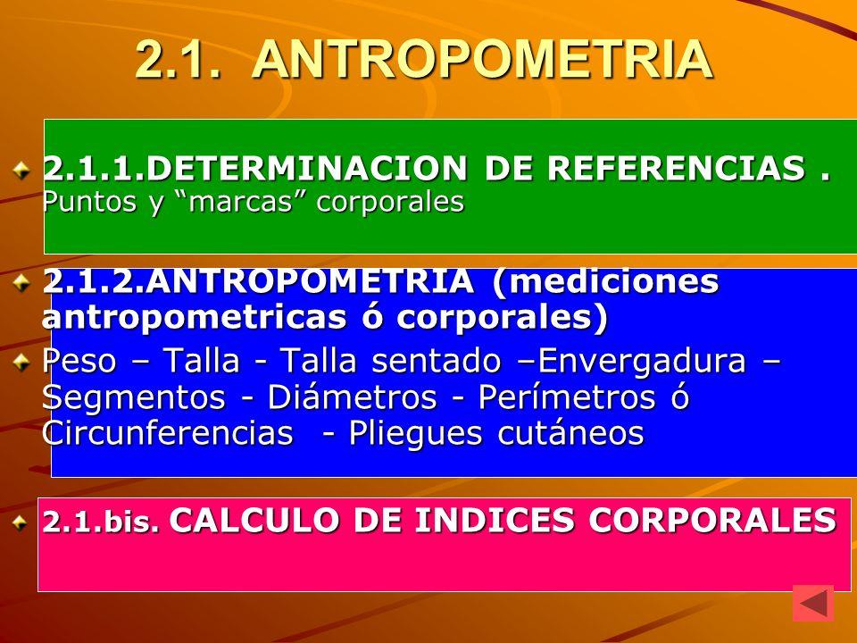 2.1. ANTROPOMETRIA 2.1.1.DETERMINACION DE REFERENCIAS . Puntos y marcas corporales. 2.1.2.ANTROPOMETRIA (mediciones antropometricas ó corporales)