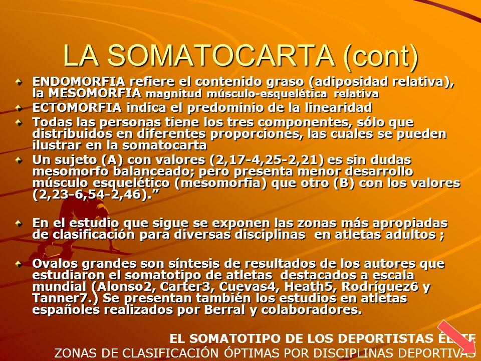 LA SOMATOCARTA (cont) ENDOMORFIA refiere el contenido graso (adiposidad relativa), la MESOMORFIA magnitud músculo-esquelética relativa.