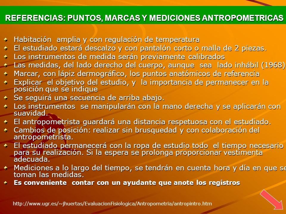 REFERENCIAS: PUNTOS, MARCAS Y MEDICIONES ANTROPOMETRICAS