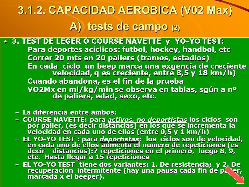 3.1.2. CAPACIDAD AEROBICA (V02 Max) A) tests de campo (2)