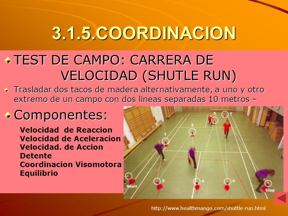 3.1.5.COORDINACION TEST DE CAMPO: CARRERA DE VELOCIDAD (SHUTLE RUN)