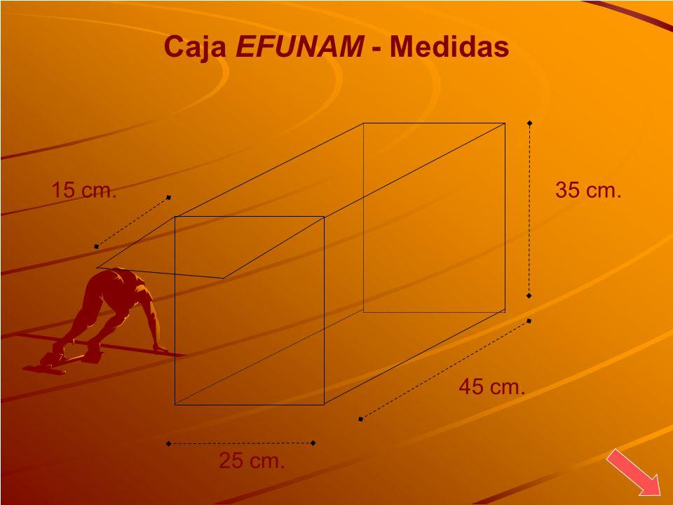 Caja EFUNAM - Medidas 45 cm. 35 cm. 15 cm. 25 cm.