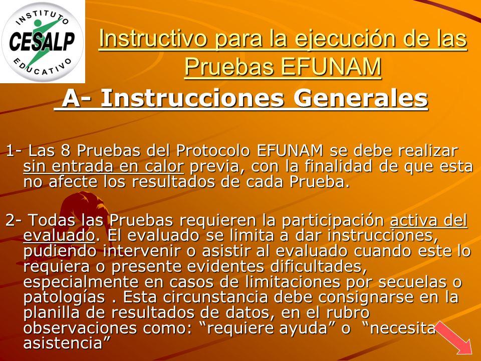 Instructivo para la ejecución de las Pruebas EFUNAM