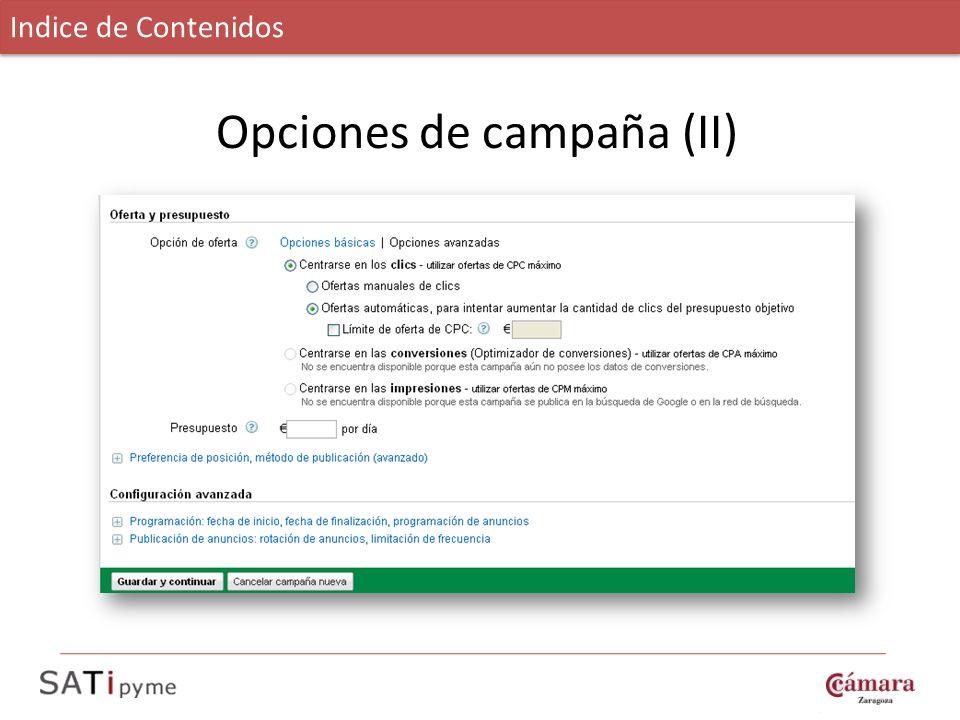 Opciones de campaña (II)