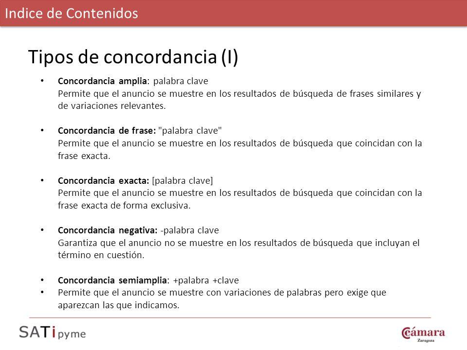 Tipos de concordancia (I)
