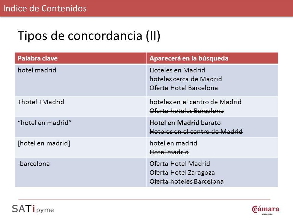 Tipos de concordancia (II)