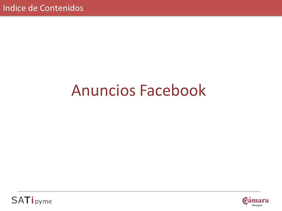 Indice de Contenidos Anuncios Facebook