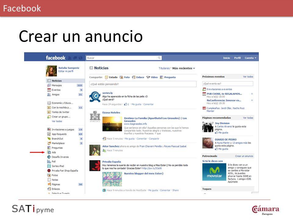 Facebook Crear un anuncio