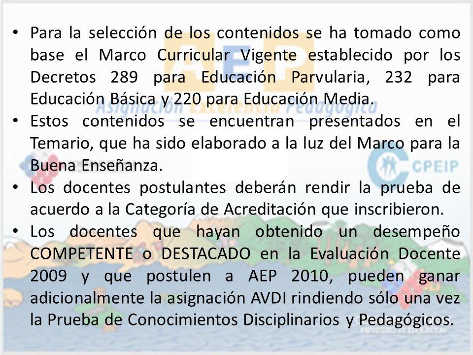 Para la selección de los contenidos se ha tomado como base el Marco Curricular Vigente establecido por los Decretos 289 para Educación Parvularia, 232 para Educación Básica y 220 para Educación Media.