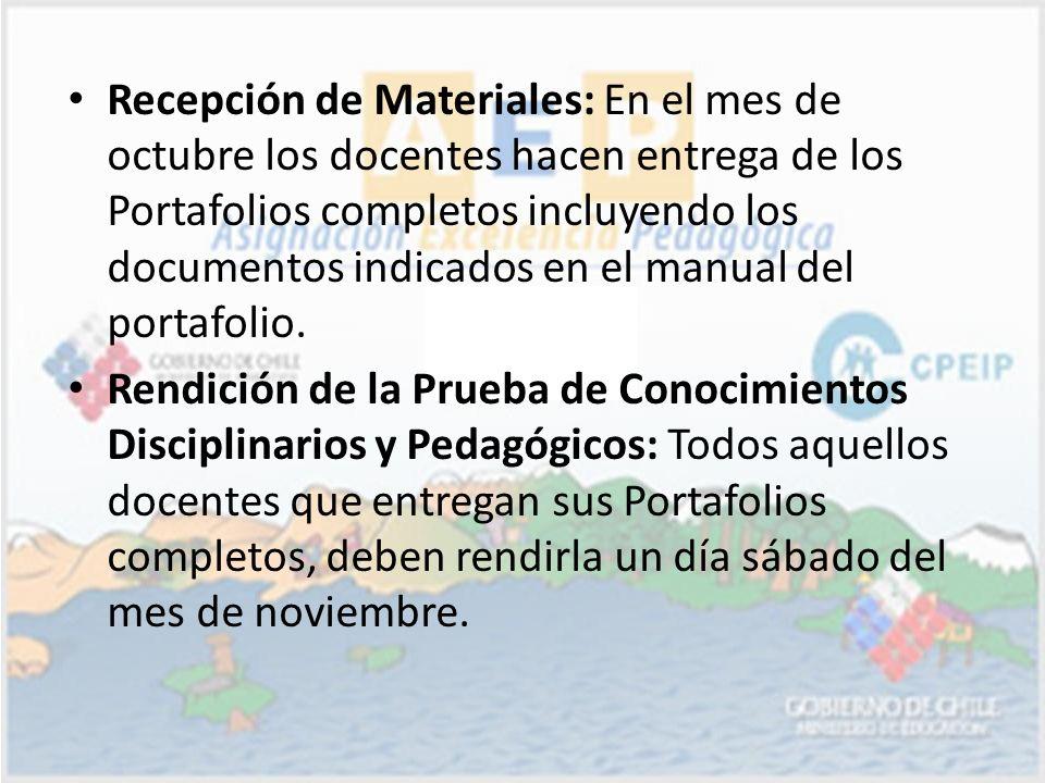 Recepción de Materiales: En el mes de octubre los docentes hacen entrega de los Portafolios completos incluyendo los documentos indicados en el manual del portafolio.