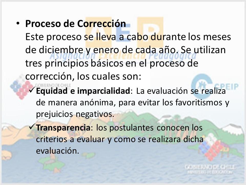 Proceso de Corrección Este proceso se lleva a cabo durante los meses de diciembre y enero de cada año. Se utilizan tres principios básicos en el proceso de corrección, los cuales son: