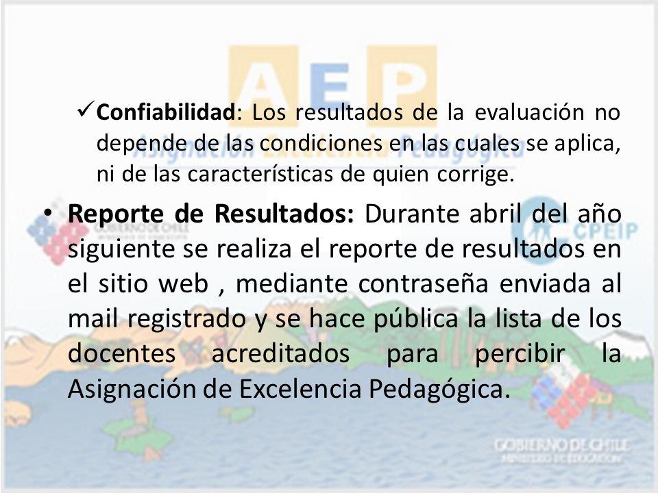 Confiabilidad: Los resultados de la evaluación no depende de las condiciones en las cuales se aplica, ni de las características de quien corrige.