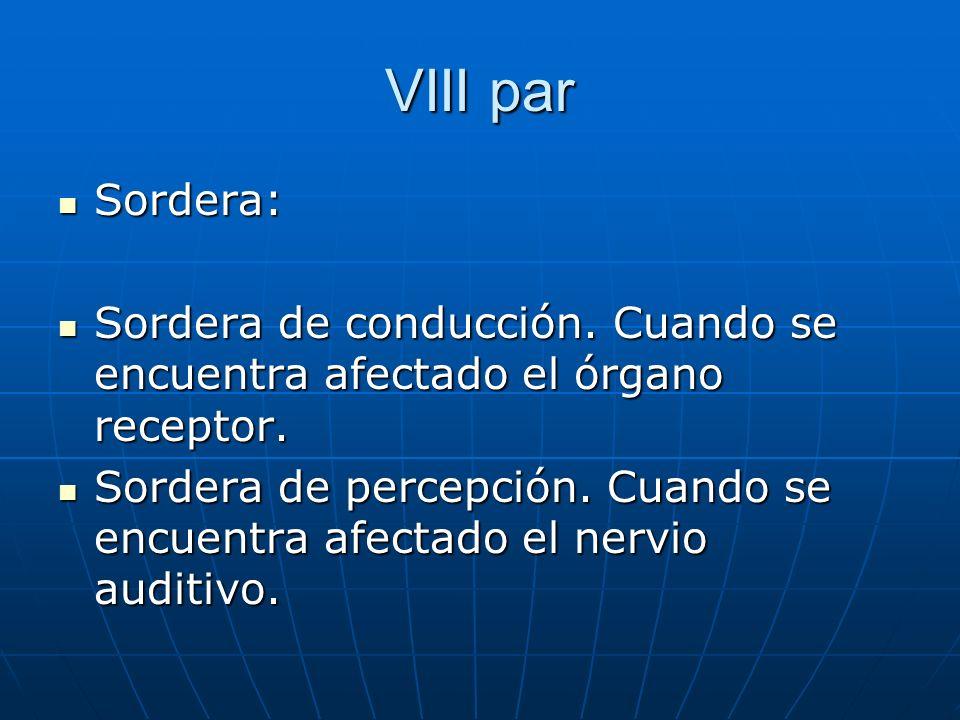 VIII parSordera: Sordera de conducción. Cuando se encuentra afectado el órgano receptor.