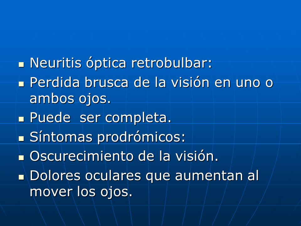 Neuritis óptica retrobulbar: