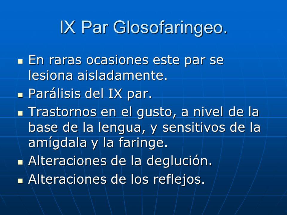 IX Par Glosofaringeo.En raras ocasiones este par se lesiona aisladamente. Parálisis del IX par.