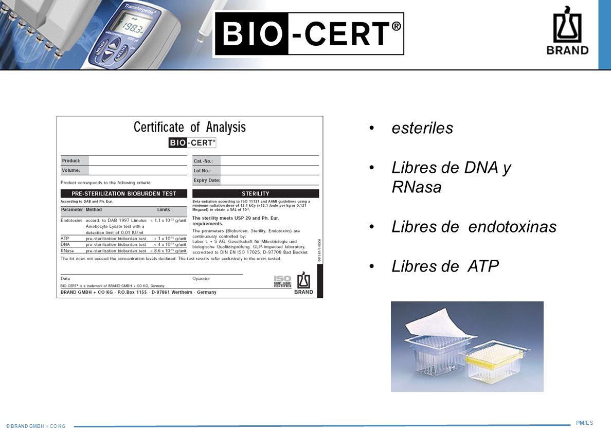 esteriles Libres de DNA y RNasa Libres de endotoxinas Libres de ATP