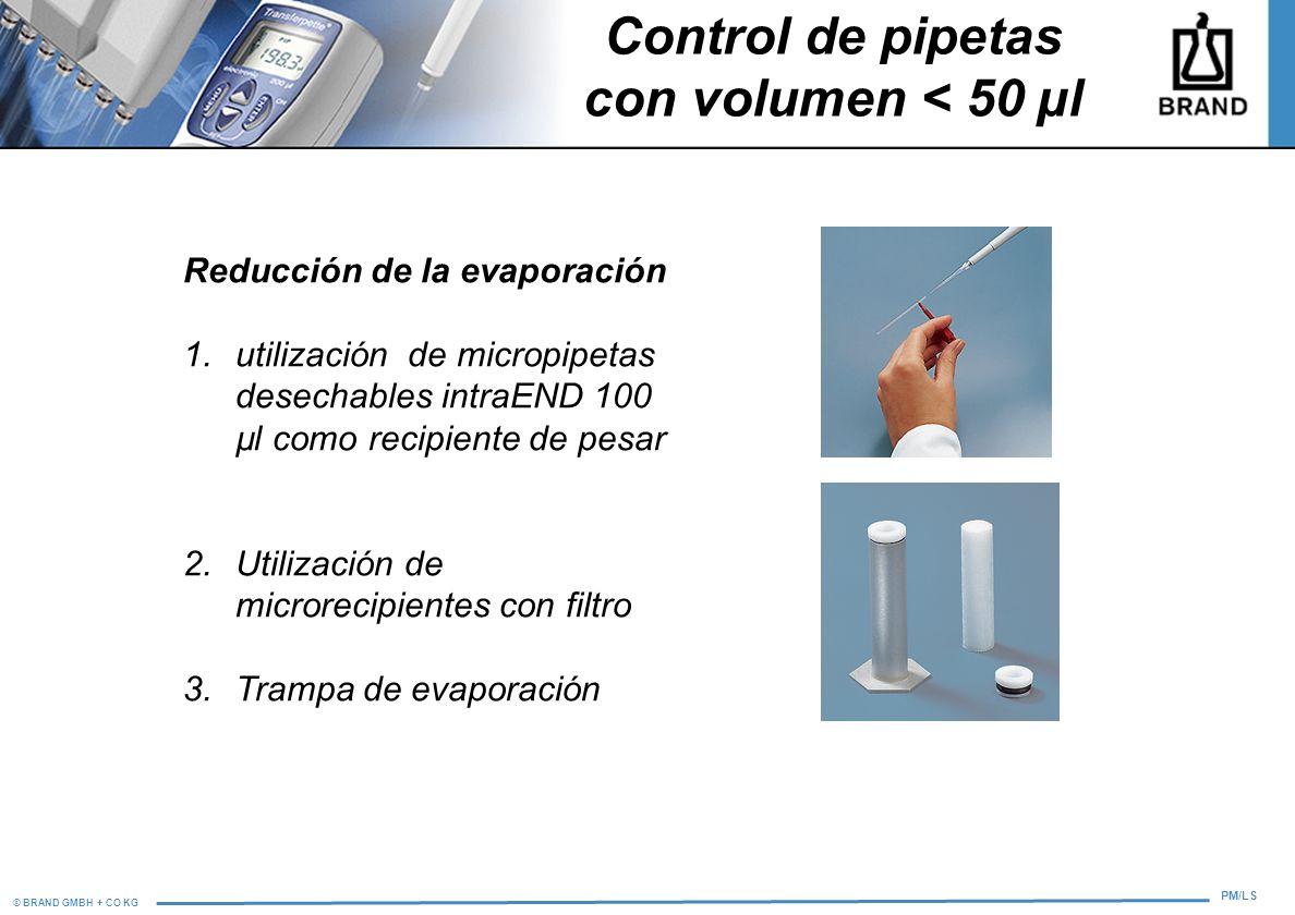 Control de pipetas con volumen < 50 µl