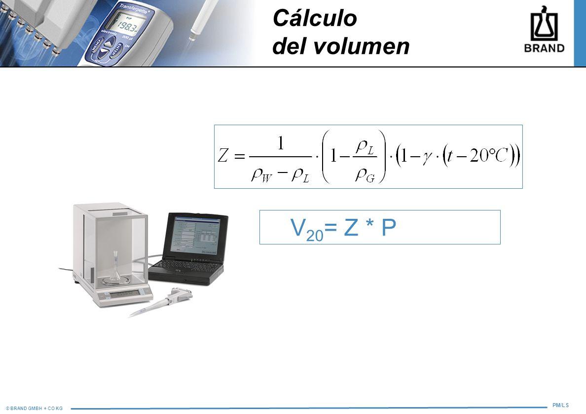 Cálculo del volumen V20= Z * P