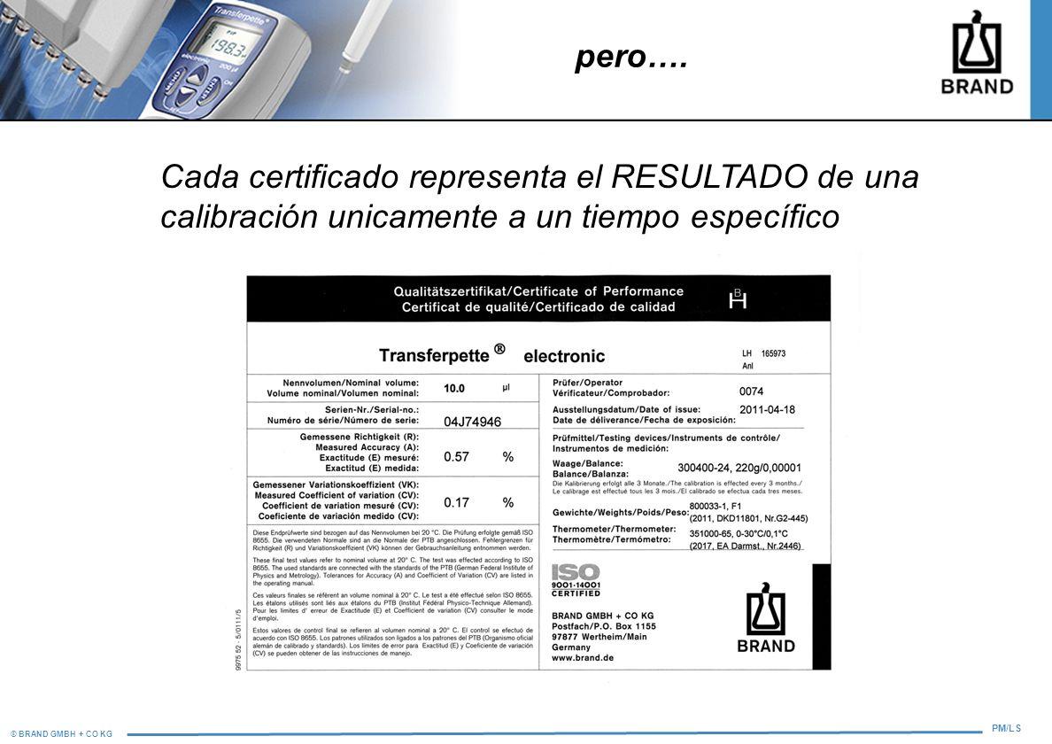 pero….Cada certificado representa el RESULTADO de una calibración unicamente a un tiempo específico.