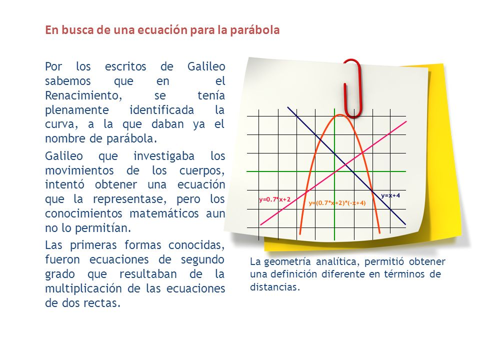 En busca de una ecuación para la parábola