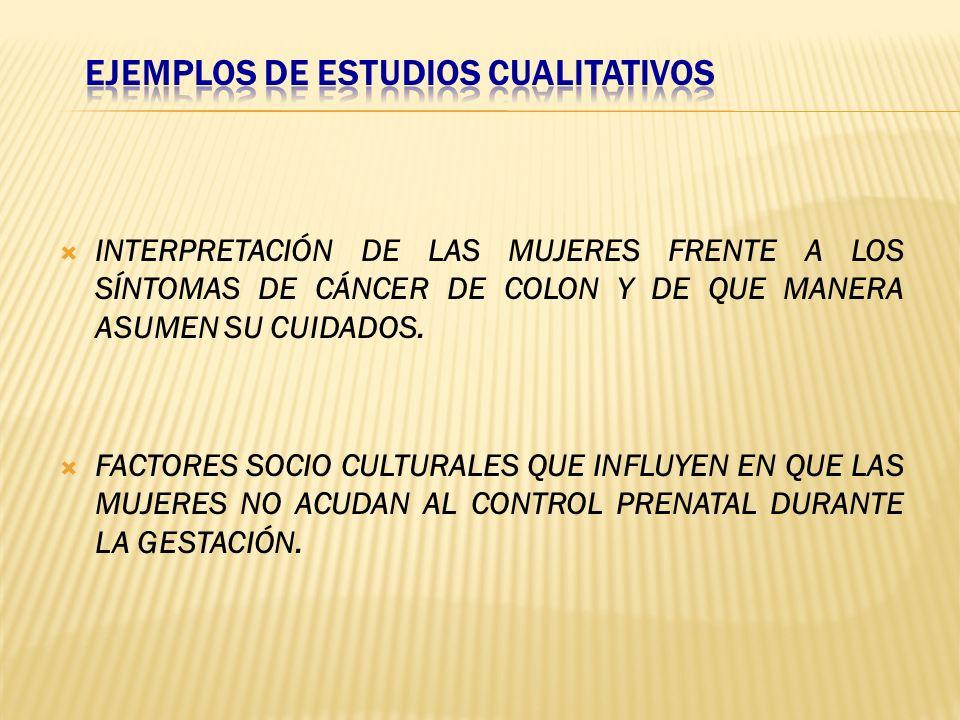 EJEMPLOS DE ESTUDIOS CUALITATIVOS