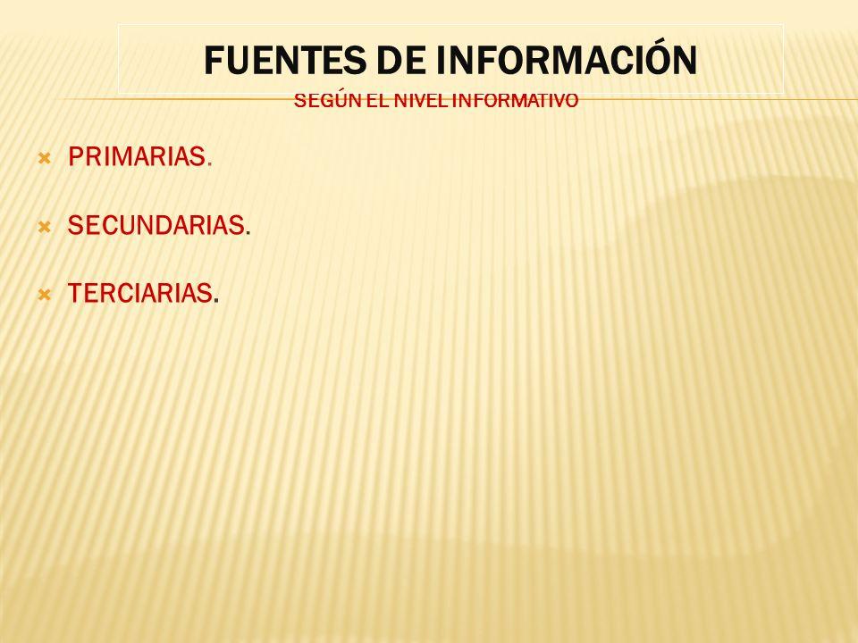 FUENTES DE INFORMACIÓN SEGÚN EL NIVEL INFORMATIVO
