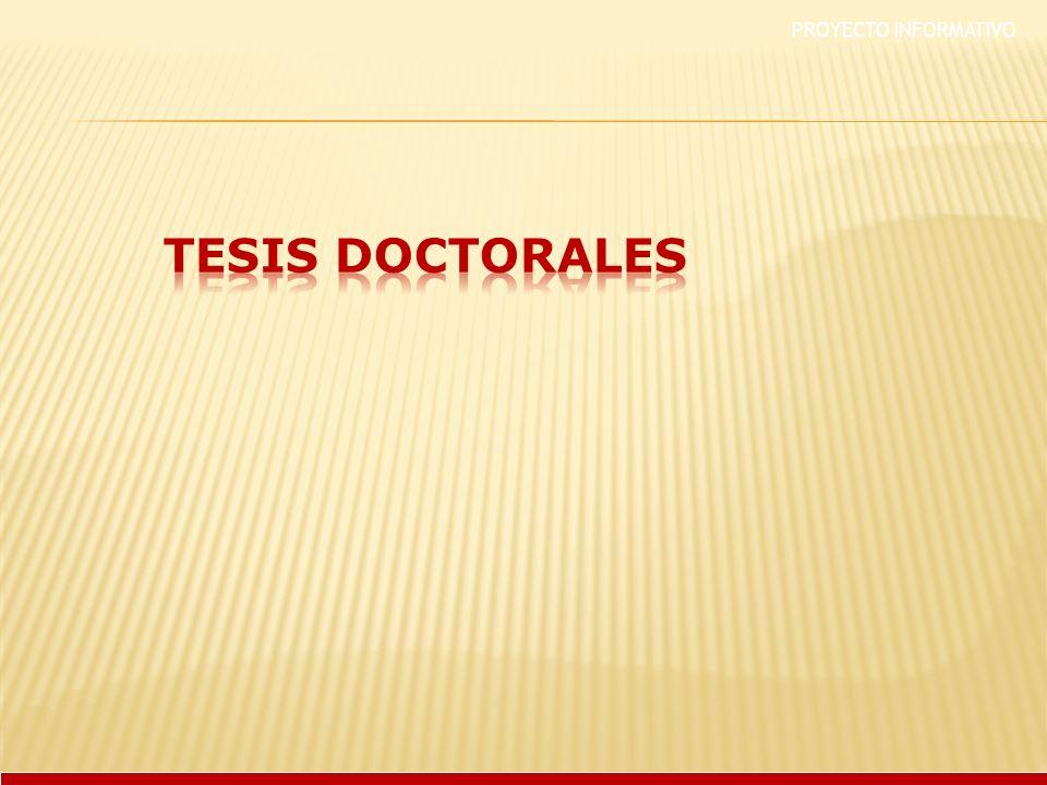 PROYECTO INFORMATIVO TESIS DOCTORALES