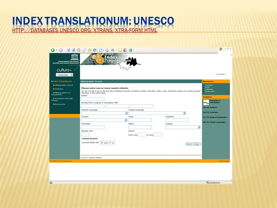 Index Translationum: UNESCO http://databases. unesco