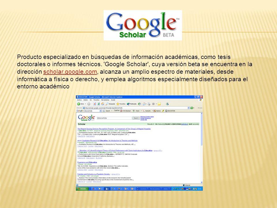 Producto especializado en búsquedas de información académicas, como tesis doctorales o informes técnicos.