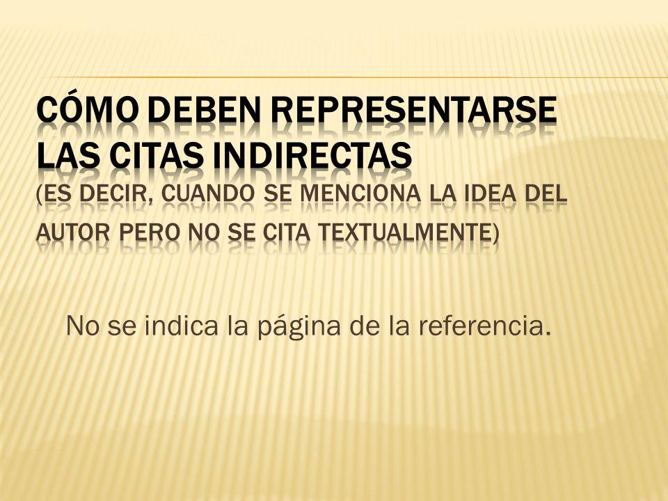 CÓMO DEBEN REPRESENTARSE LAS CITAS INDIRECTAS (es decir, cuando se menciona la idea del autor pero no se cita textualmente)