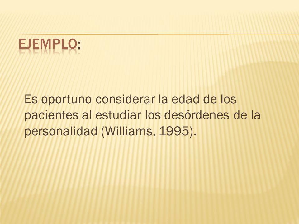 Ejemplo: Es oportuno considerar la edad de los pacientes al estudiar los desórdenes de la personalidad (Williams, 1995).