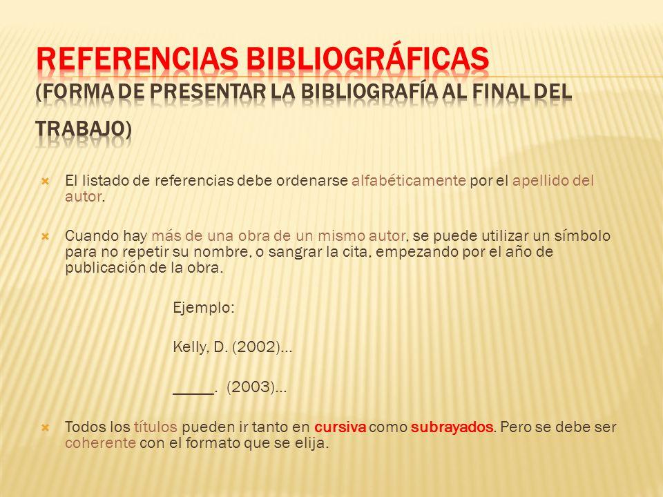 REFERENCIAS BIBLIOGRÁFICAS (forma de presentar la bibliografía al final del trabajo)
