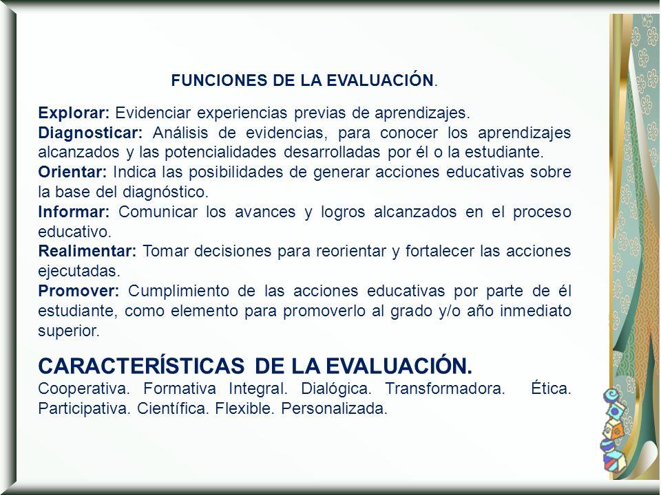 FUNCIONES DE LA EVALUACIÓN.
