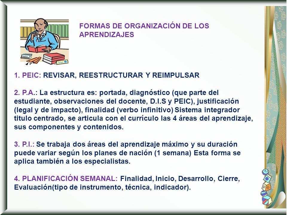 FORMAS DE ORGANIZACIÓN DE LOS APRENDIZAJES
