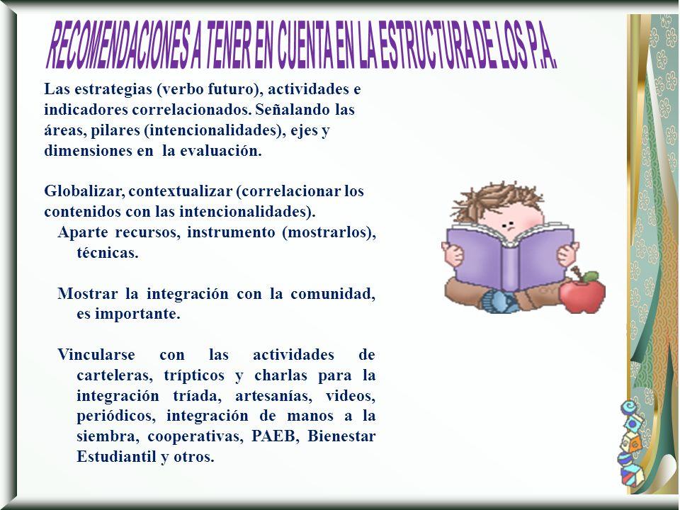 RECOMENDACIONES A TENER EN CUENTA EN LA ESTRUCTURA DE LOS P.A.