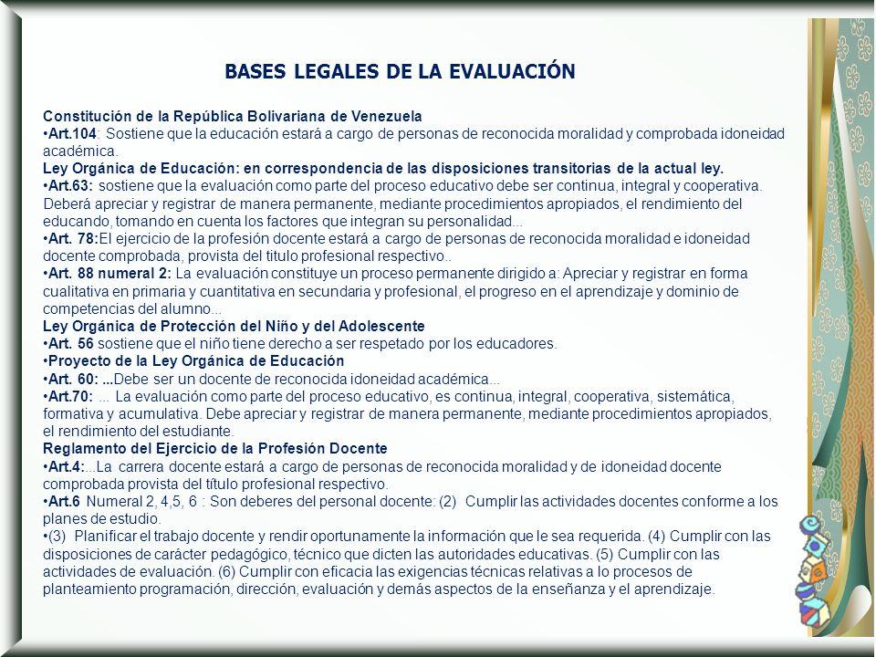 BASES LEGALES DE LA EVALUACIÓN