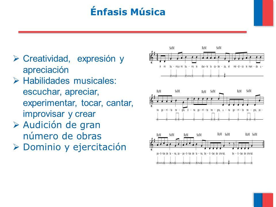 Énfasis Música Creatividad, expresión y apreciación. Habilidades musicales: escuchar, apreciar, experimentar, tocar, cantar, improvisar y crear.