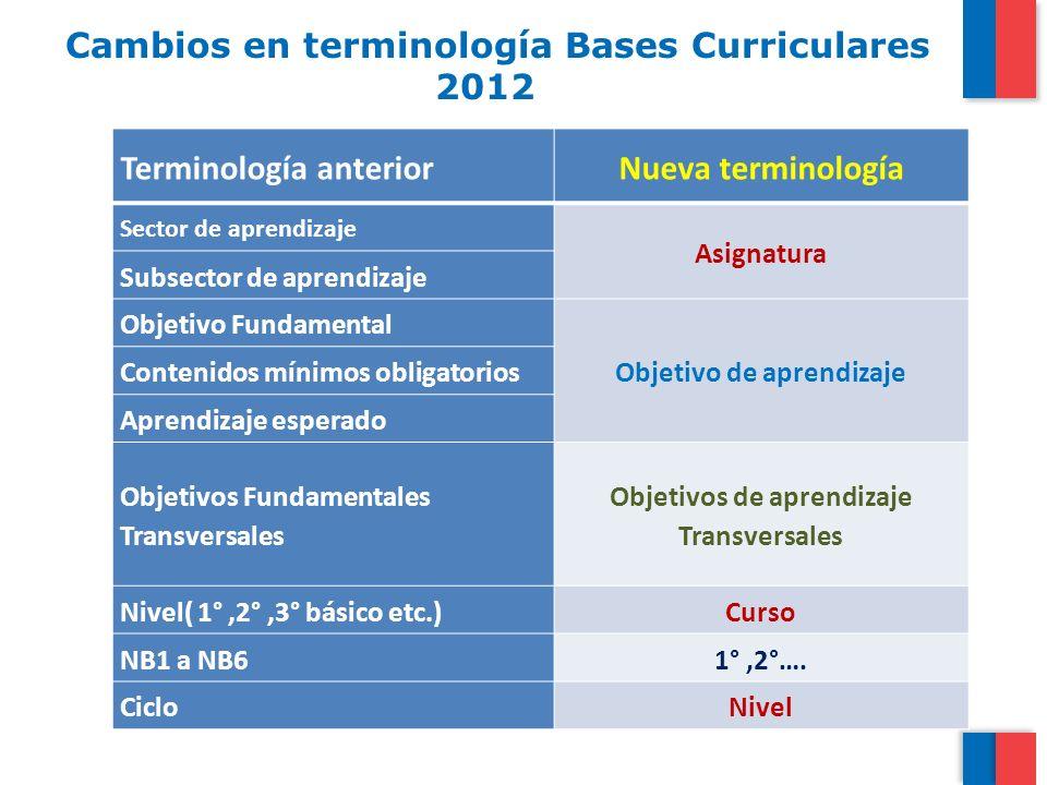 Cambios en terminología Bases Curriculares 2012