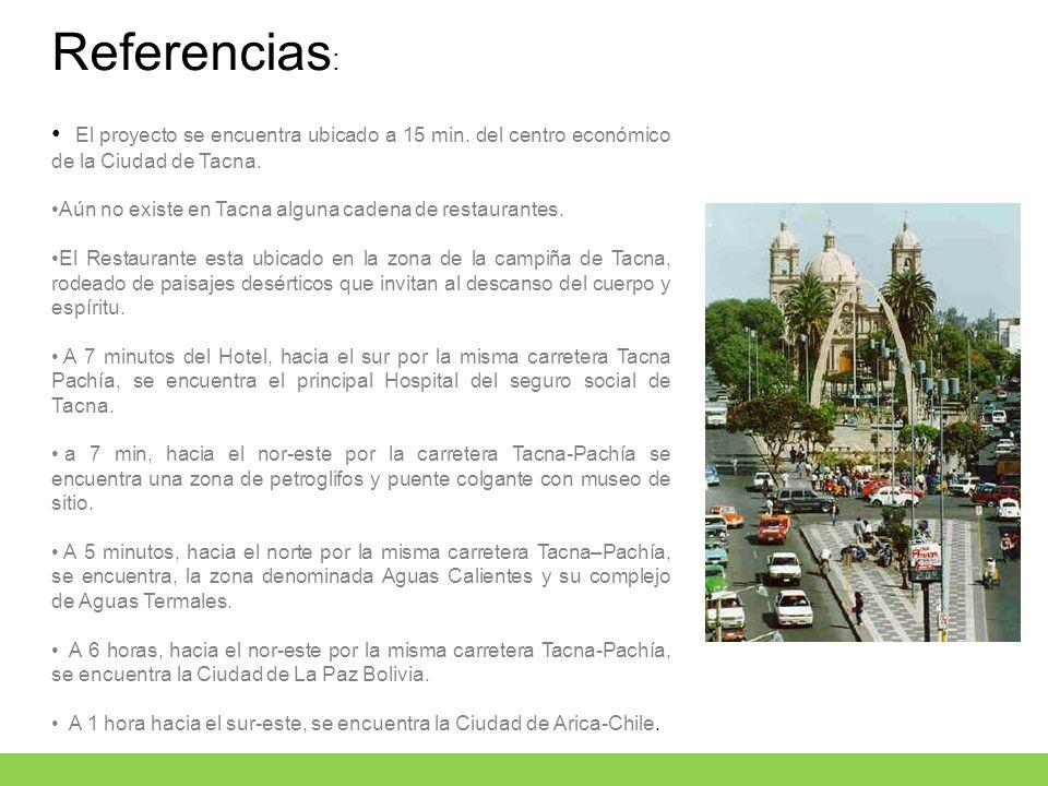Referencias: El proyecto se encuentra ubicado a 15 min. del centro económico de la Ciudad de Tacna.