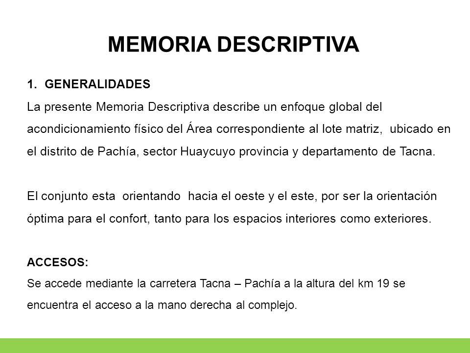 MEMORIA DESCRIPTIVA GENERALIDADES