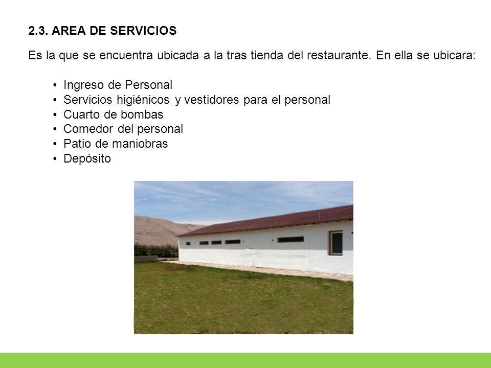 2.3. AREA DE SERVICIOS Es la que se encuentra ubicada a la tras tienda del restaurante. En ella se ubicara: